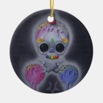 sweet, tattoos, tattoo, sugar, fueled, michael, banks, coallus, sugarskull, skull, rainbow, Ornament with custom graphic design