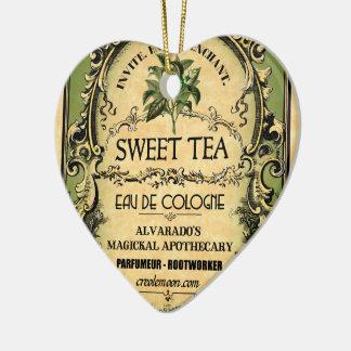 Sweet Tea Eau de Cologne Vintage Label Ceramic Ornament