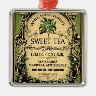 Sweet Tea Eau de Cologne Vintage Label Metal Ornament