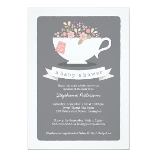 Sweet Teacup & Pink Floral Baby Shower Invitation