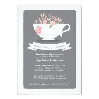 Sweet Teacup Pink Floral Bridal Shower Invitation