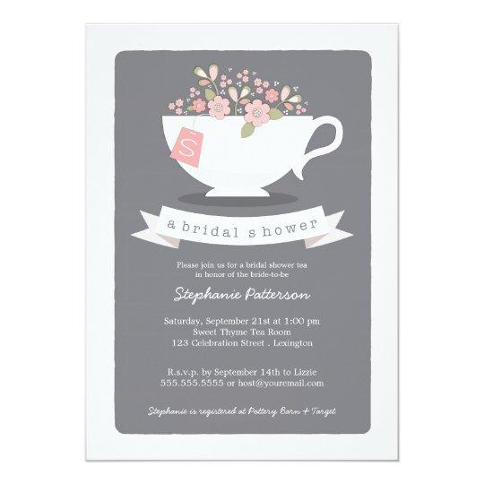 Sweet Teacup Pink Floral Bridal Shower Invitation | Zazzle