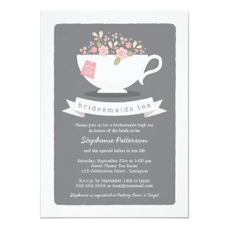 Sweet Teacup Pink Floral Bridesmaids Tea Party Card