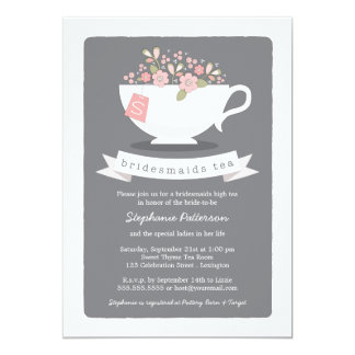 Sweet Teacup Pink Floral Bridesmaids Tea Party 5x7 Paper Invitation Card
