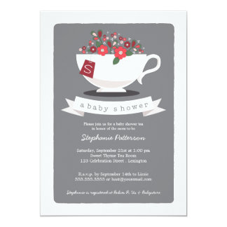Sweet Teacup & Red Floral Baby Shower Invitation