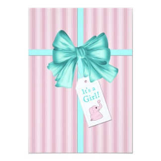 Sweet Teal Blue and Pink Elephant Baby Shower Card