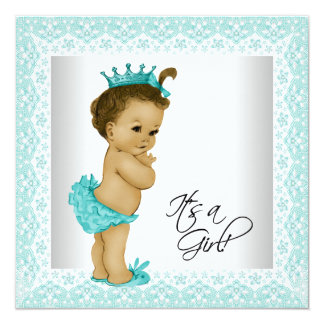 Sweet Teal Blue Ethnic Baby Girl Shower Card