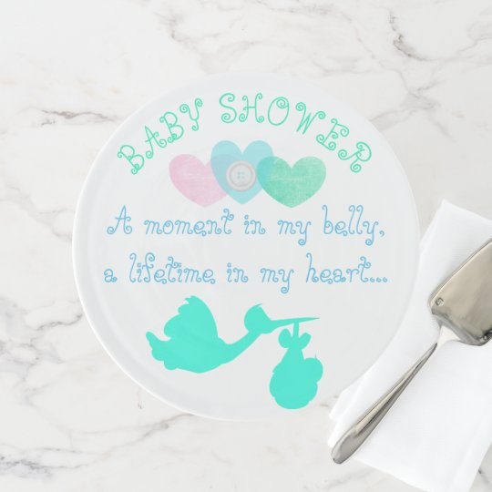 Sweet Teal Blue Hearts Stork Baby Shower Stand Zazzle