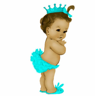 Sweet Teal Blue Princess Baby Girl Shower Statuette