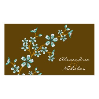 Sweet Teal Cherry Blossom Wedding Website Cards Double-Sided Standard Business Cards (Pack Of 100)