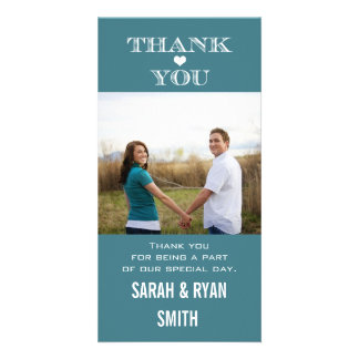 Sweet Teal Heart Wedding Thank You Photo Cards