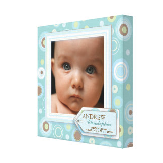 Sweet Teal Polka Dot Baby Boy Photo Birth Canvas Stretched Canvas Prints