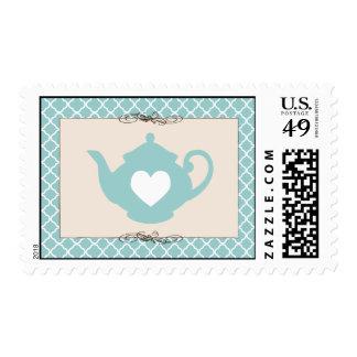Sweet Teal Teapot Tea Party Postage Stamp