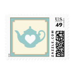 Sweet Teal Teapot Tea Party Postage Stamp