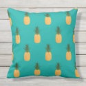 Sweet Teal Tropical Fruity Pineapple Pattern Outdoor Pillow
