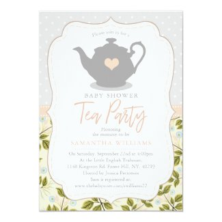 Sweet Teapot Baby Shower Tea Party Invitation