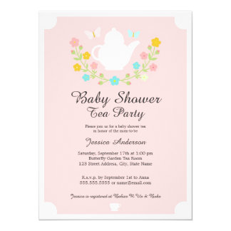 Sweet TeaPot Pink Floral Baby Shower Card