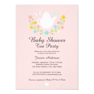 Sweet TeaPot Pink Floral Baby Shower Invite