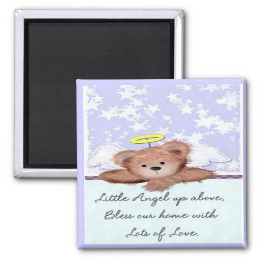 Sweet Teddy Bear Angel 2 Inch Square Magnet