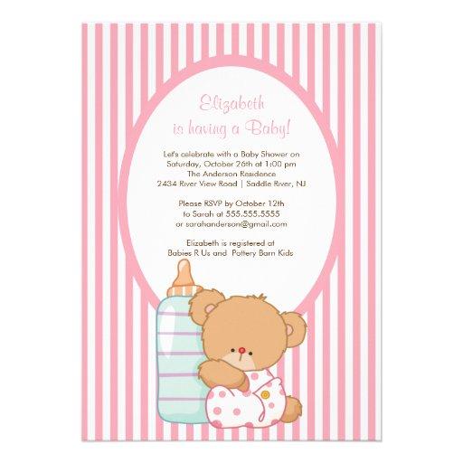 sweet teddy bear baby shower invitation pink zazzle