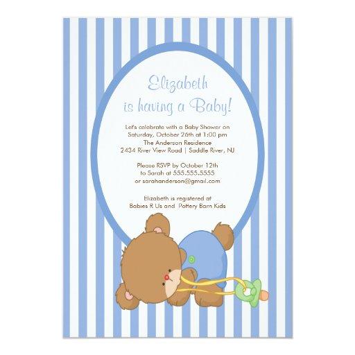 Sweet Teddy Bear Boy Baby Shower Invitation