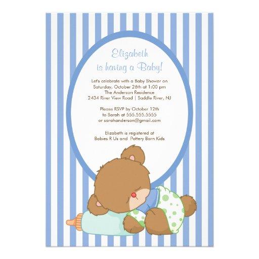 sweet teddy bear boy baby shower invitation 5 x 7 invitation card