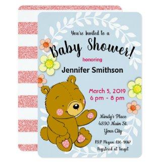 Sweet Teddy Bear Faux Glitter Baby Shower