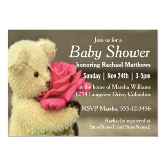 Sweet Teddy Bear With Rose Baby Shower 5x7 Paper Invitation Card