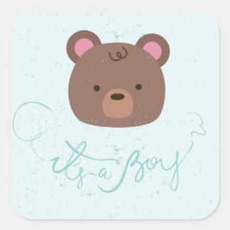 Sweet Teddy It's A Boy Baby Shower Sticker