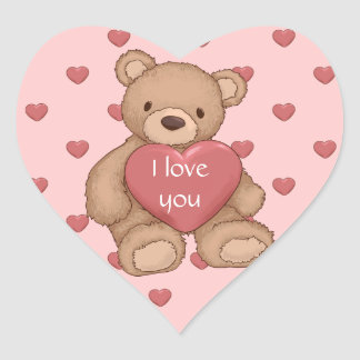 sweet teddybear heart sticker