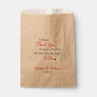 Sweet Thank You Black and Red Wedding Favor Bag