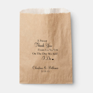 Sweet Thank You Black and Tan Wedding Favor Bags