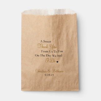 Sweet Thank You Personalized Black & Gold Wedding Favor Bags