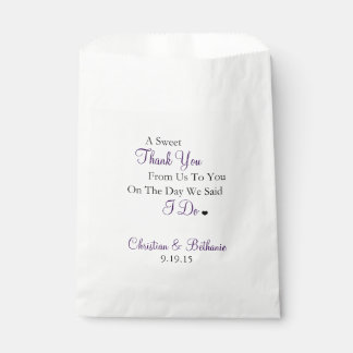 Sweet Thank You Personalized Dark Purple Wedding Favor Bags