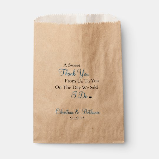 Sweet Thank You Personalized Royal Blue Wedding Favor Bag