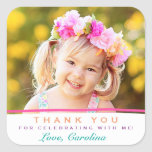 """Sweet Thank You Photo Birthday Stickers<br><div class=""""desc"""">These darling,  colorful thank you stickers are perfect for a birthday or any other special occasion.  Use them for favor labels,  envelope seals,  cupcake toppers and more!  Text colors can be customized to any color you&#39;d like.  Replace the template photo prior to purchasing.</div>"""