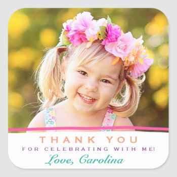 Sweet Thank You Photo Birthday Stickers by Orabella at Zazzle