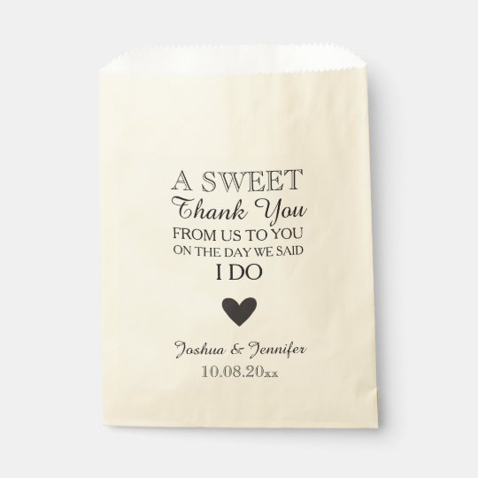Sweet Thank You Wedding Favor Candy Bar Buffet Favor Bag | Zazzle.com