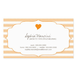 Sweet Ticking Stripes Citrus Mommy Business Cards