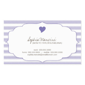 Sweet Ticking Stripes Grape Mommy Business Cards