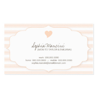 Sweet Ticking Stripes (mango) Mommy Business Cards