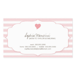 Sweet Ticking Stripes (pink2) Mommy Business Cards