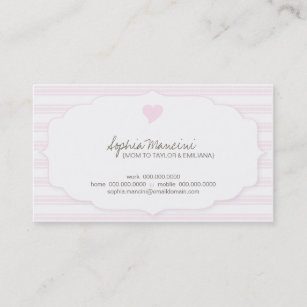 The tick business cards templates zazzle sweet ticking stripes pink mommy business cards colourmoves