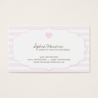 Sweet Ticking Stripes (pink) Mommy Business Cards