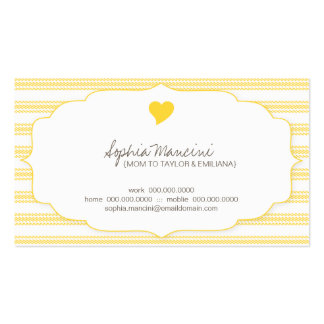 Sweet Ticking Stripes (sunny) Mommy Business Cards