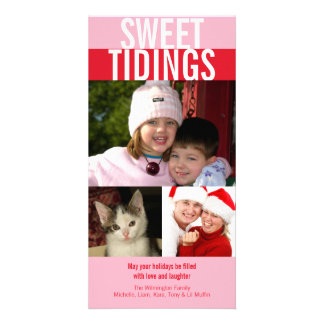Sweet tidings bold pink red Christmas greeting Card