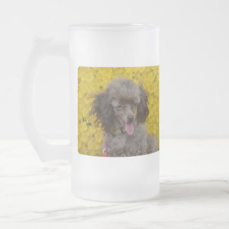 Sweet Tiny Brown Poodle Frosted Glass Beer Mug