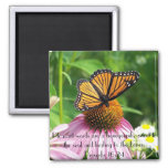 Sweet to the soul bible verse butterfly flower 2 inch square magnet