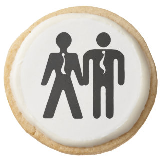 Sweet Togetherness ~ For the Boyz Round Premium Shortbread Cookie