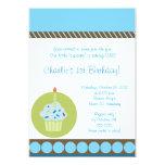 Sweet Treat Blue First 1st Cupcake Birthday 5x7 Paper Invitation Card